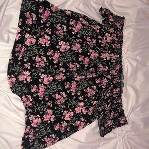 off the shoulder flowy floral top